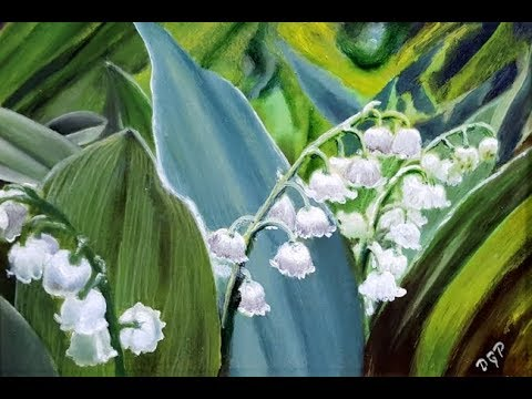 Lily of the Valley mini oil painting by artist Delmus Phelps