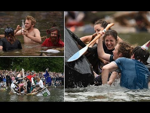 Cambridge University students take to boats to celebrate end of exams