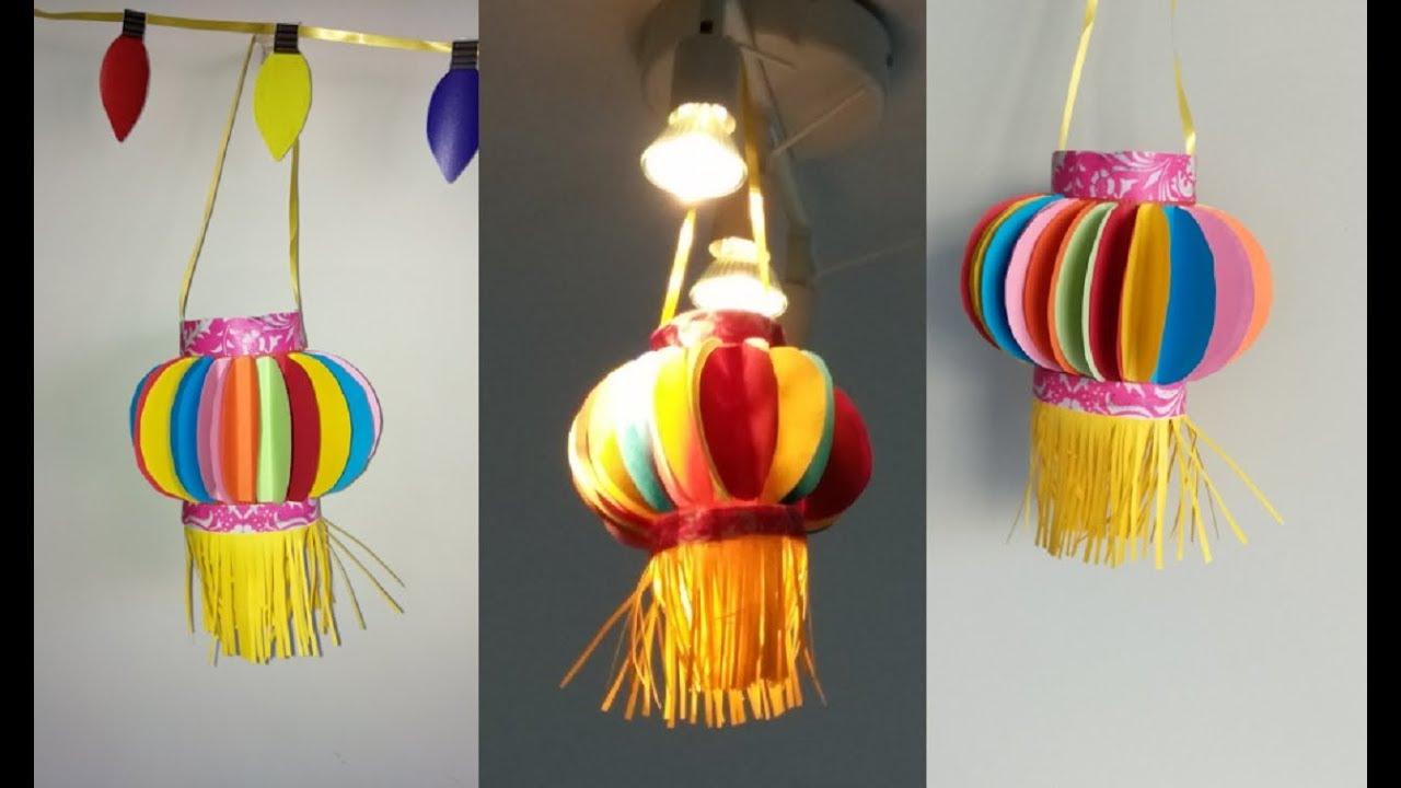 How To Make Paper Lantern Akash Kandli Diy Diwali Decor Kids