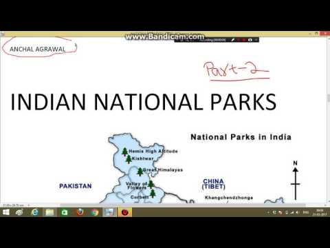 Indian National Parks Part 2 Through Map (राष्ट्रीय उद्यान भाग 2)