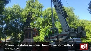 Watch now: Christopher Columbus statue removed from Tower Grove Park