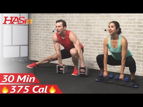 30 Minute Full Body Workout for Strength - Total Body Dumbbell Weight Training at Home for Women Men
