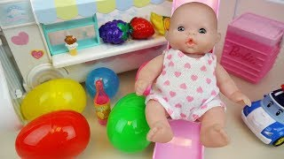 Baby Doli and food car surprise eggs toys baby doll play