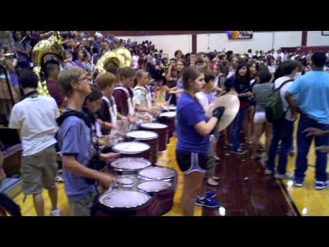 Austin High School Texas band drum line pep rally