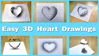 6 Easy 3D Draẁings on paper ❤️ 6 types 3D Heart illusion Drawing Tutorial in a single video