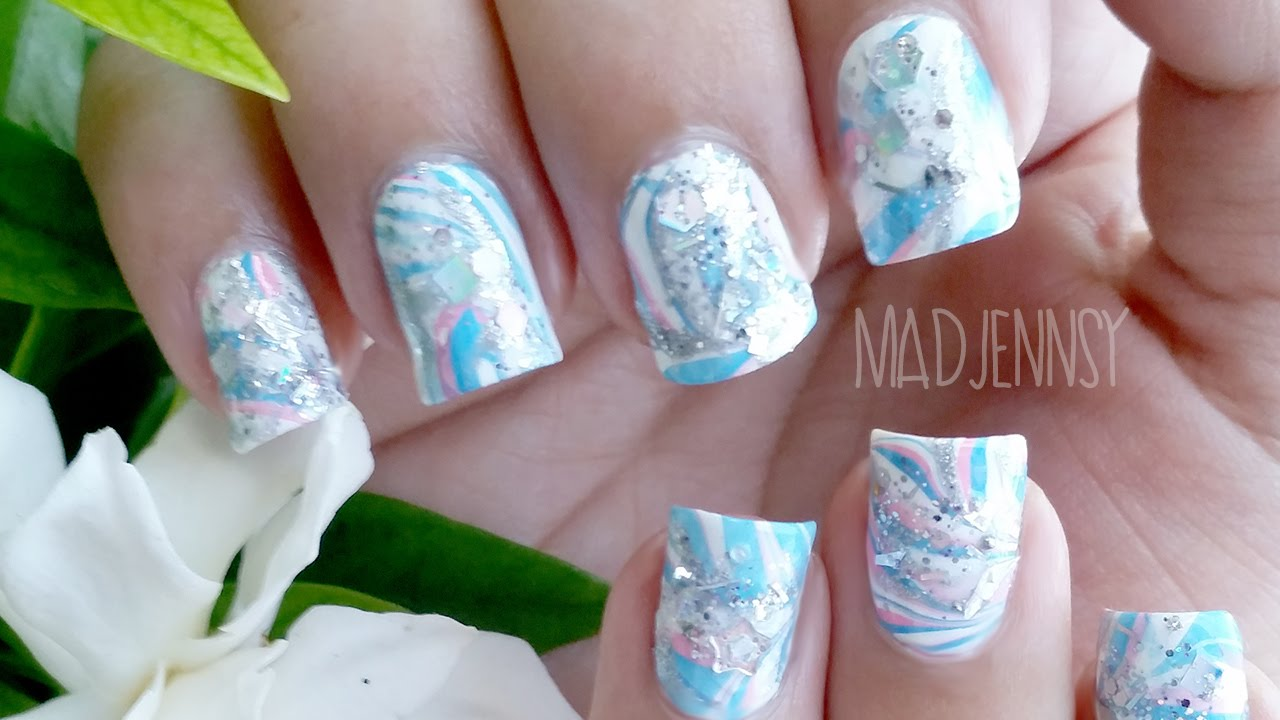 Japanese Water Marble Inspired Nail Art - YouTube