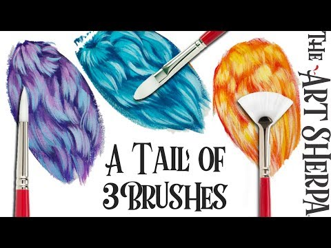 3 ways to paint Fantasy Fur with a Fan brush, Cats Tongue and Round 🎨🐱🐶
