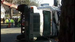 Westwood, Ma- Ice Cream Truck Hits Bridge, Rolls Onto Car (12-13-09)