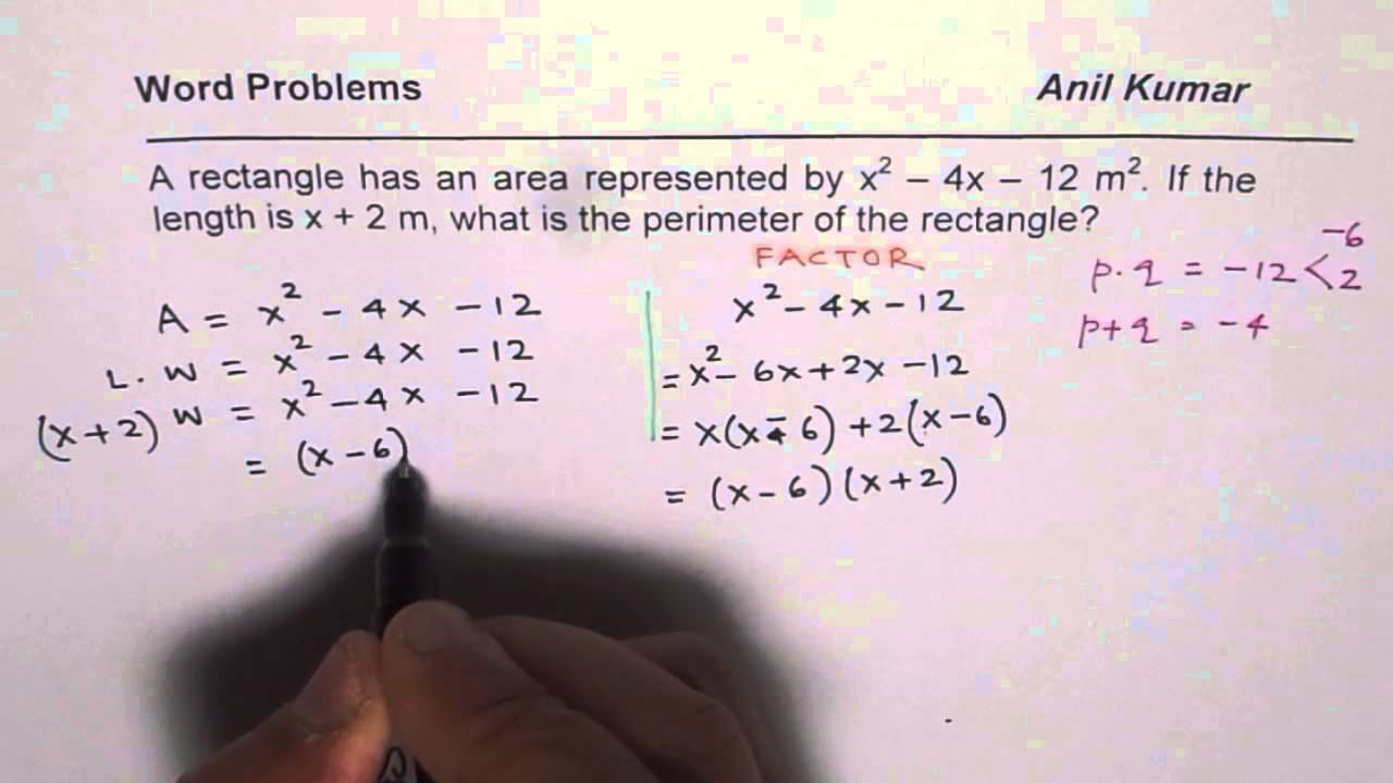 Find Perimeter Of Rectangle In Terms Of Area