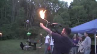Lighting a Bonfire Using a Flaming Arrow from a Crossbow