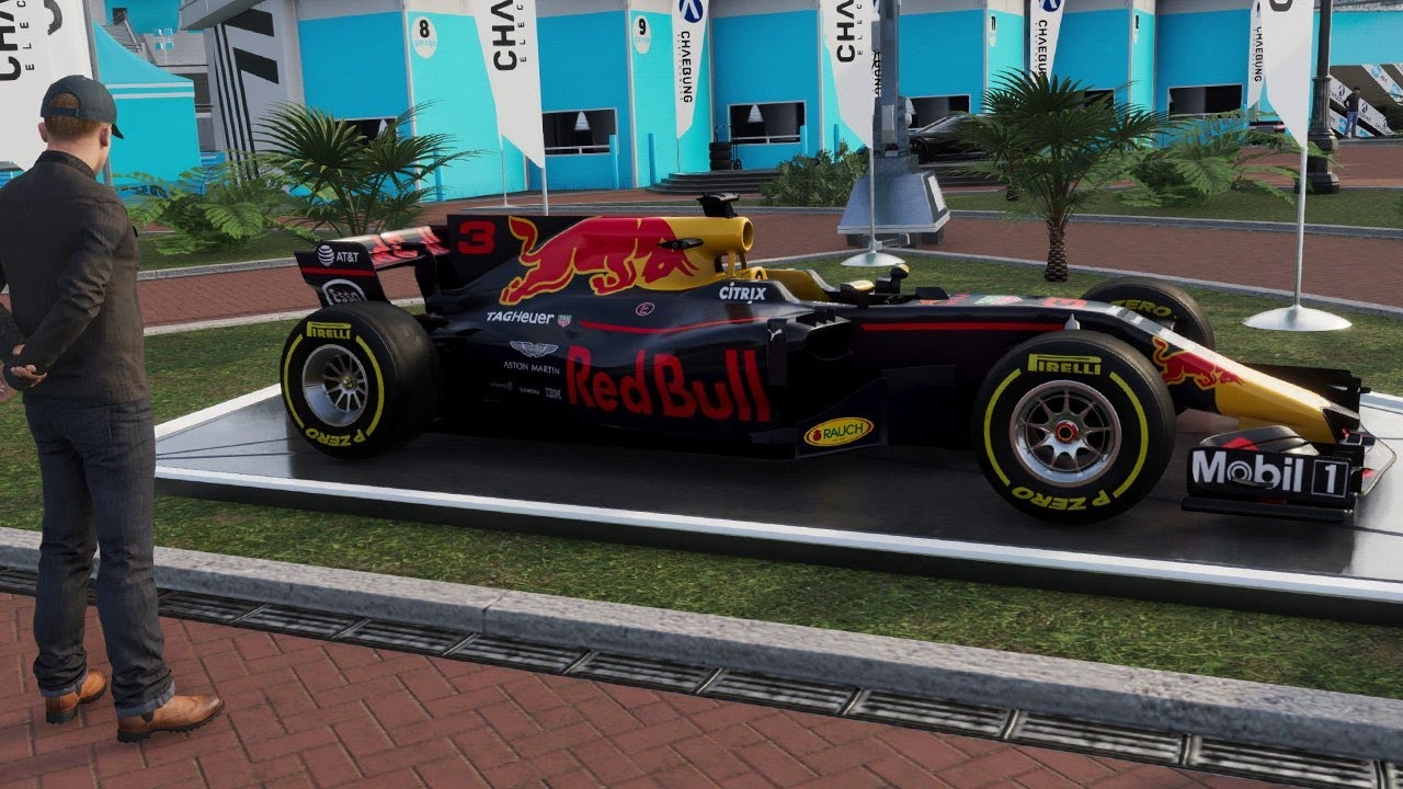 the crew 2 test driving a red bull formula one car on. Black Bedroom Furniture Sets. Home Design Ideas