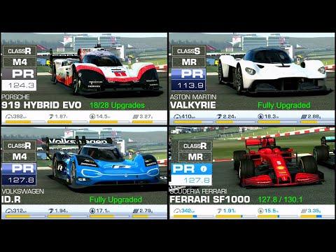 RR3 Porsche 919 Hybrid Evo vs Aston Martin Valkyrie vs Volkswagen ID.R vs Ferrari SF1000