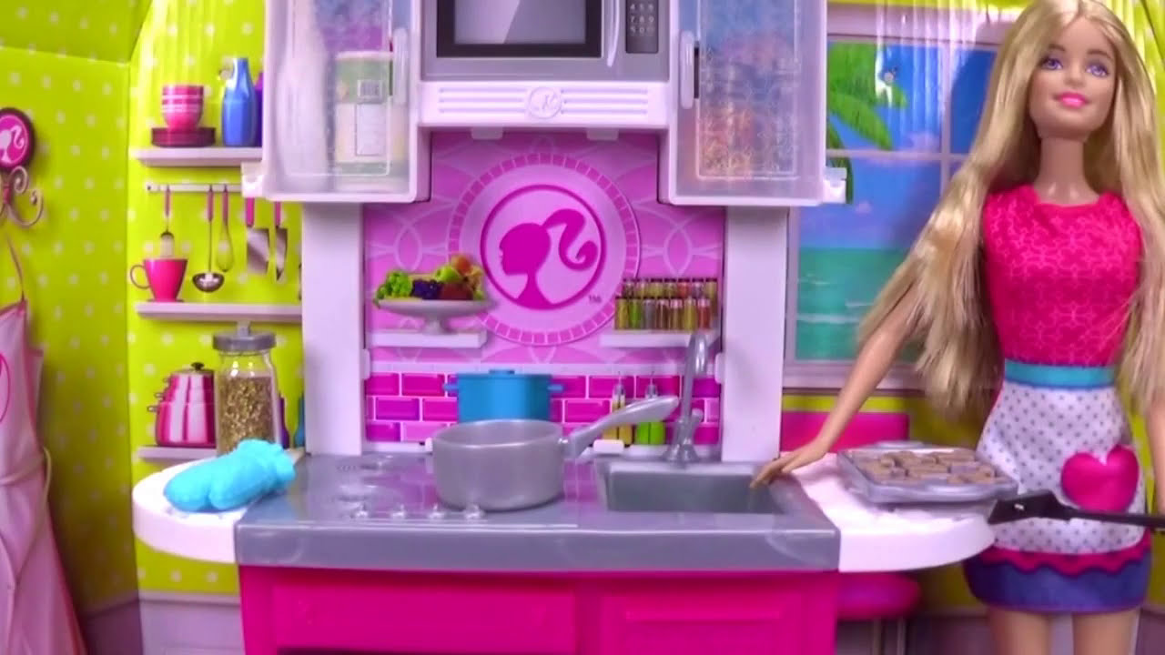 barbie kitchen playset garden window doll cooking girl toy food youtube