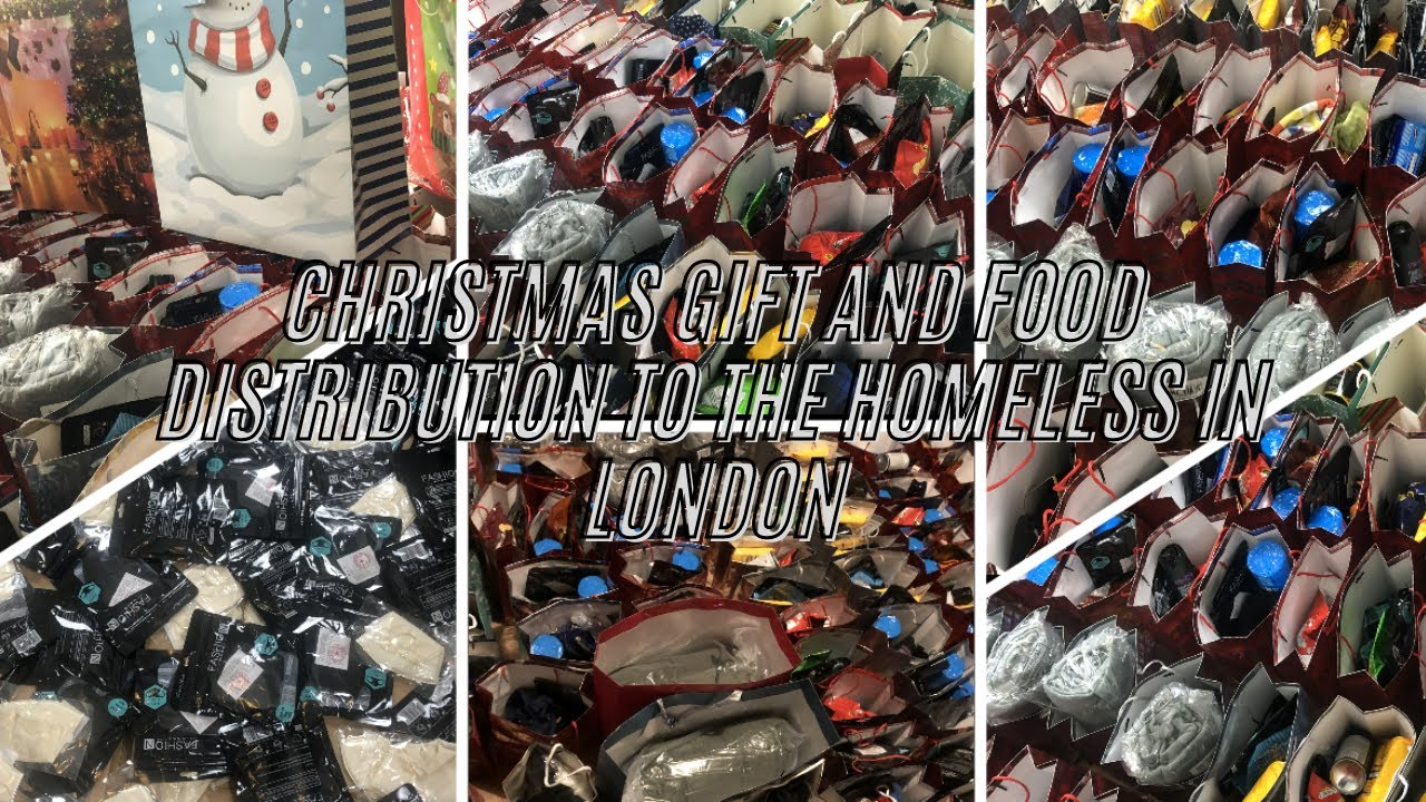 Christmas Gift and Food Distribution to the Homeless in London End of the Year 2020