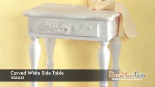 Carved White Side Table - 34353
