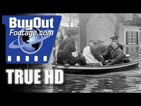 HD Historic Stock Footage THOUSANDS FLEE WINNIPEG FLOOD 1950
