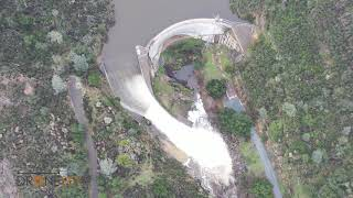Dam Overflow Spillway Flowing after weeks of California Rain