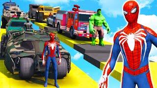 SPIDERMAN & Superheroes Service Cars   GTA 5 Mega Ramp Challenge (Funny Moments)
