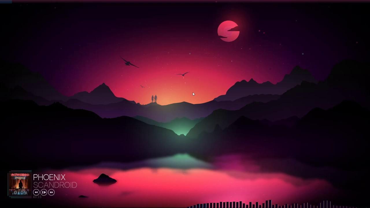 Neon sunset - Rainmeter desktop theme