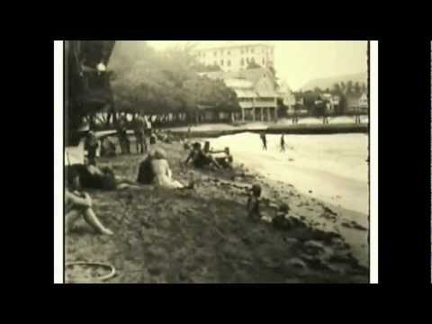 Vintage Hawaiian Film - Circa 1913 - Waikiki Honolulu  surfing scenery  waterfalls old antique cars