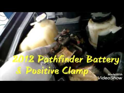 2012 Nissan Pathfinder battery  positive clamp replacement - YouTube