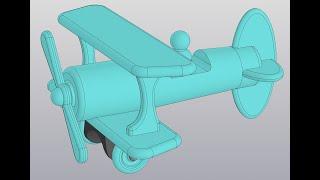 Видеоуроки Компас 3D V18 Сборка самолетика. 5 Главная ось, шасси, ось колеса