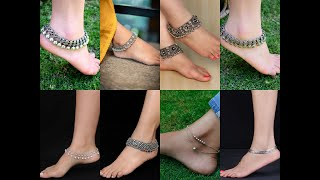 Silver oxidised anklets for legs ll Latest trendy silver oxidised anklets for girls ll Anjus World
