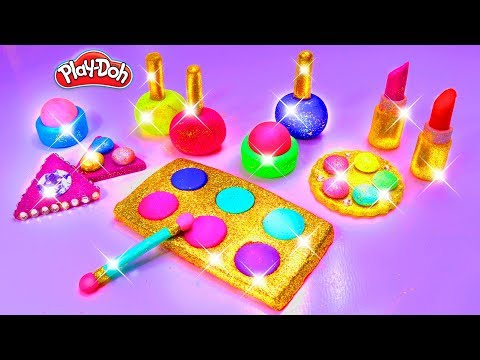 Play Doh Makeup Set How to Make Eyeshadow Lipstick 馃拕 Nail Polish 馃拝 with Play Doh Fun for Kids