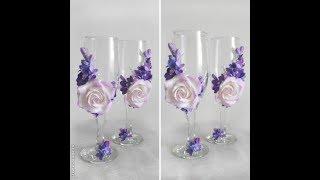 Оформляем свадебные бокалы, лепим цветы из зефирной глины, авторские бокалы от  Анны Горбуновой