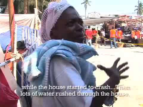 Distributing aid in Haiti