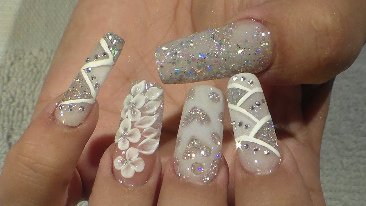 Wedding Bridal Nail Design - Natos Nails - Uñas Acrilicas ...