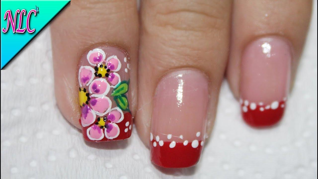 Diseño De Uñas Flores Y Francés En Rojo Flowers Nail Art French Nail Art Nlc
