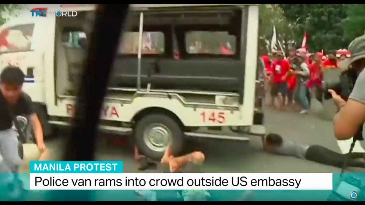 Manila Protest Police Van Rams Into Crowd Outside Us Embassy Youtube