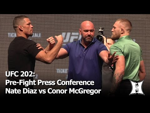 UFC 202: Nate Diaz vs Conor McGregor 2 Pre-Fight Press Conference + Face-Off (complete / unedited)