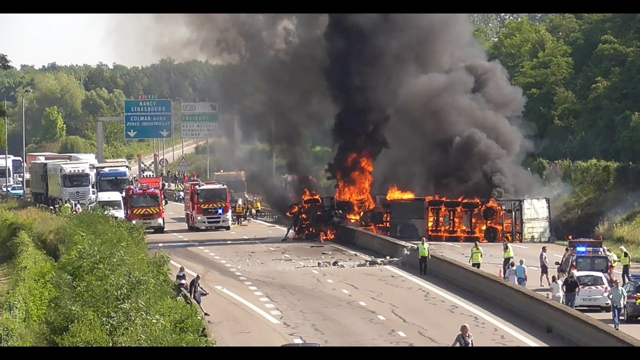 accident crash camion en feu truck in fire colmar juin 2015 youtube. Black Bedroom Furniture Sets. Home Design Ideas