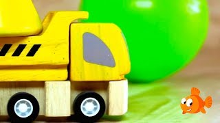 Plan Truck & Crane Toys Demo - Build A Color Pyramid! Children's Educational Video