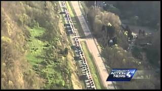 Raw: Tractor-trailer crash shuts down I-79 southbound