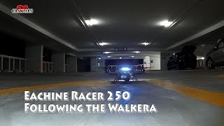 Racing Drones Car Park Practice Eachine Racer 250 trying to follow the Walkera Runner Advance 250