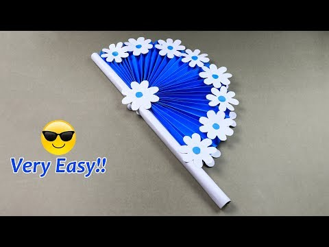 DIY paper craft: how to make diy hand fan out of color papers | sb crafts