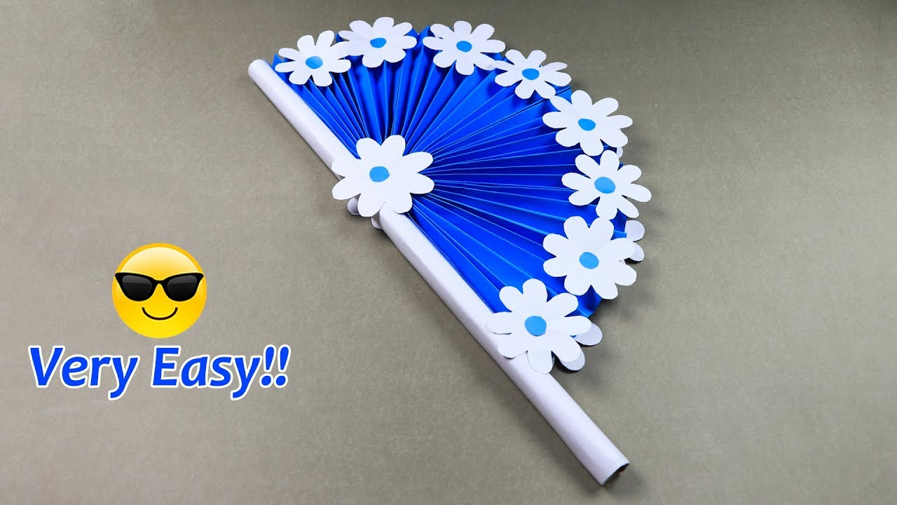 DIY paper craft: how to make diy hand fan out of color ...