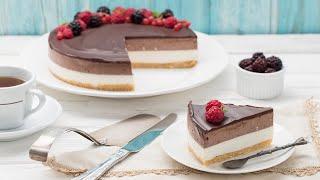 Ванильно-шоколадный чизкейк без выпечки