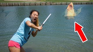 LIGHTSABER VS. POND MONSTER!!