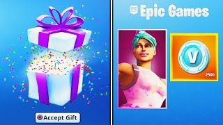 GIFTING the FREE Fortnite BIRTHDAY ITEMS.. (NEW Fortnite Birthday Challenges) thumbnail