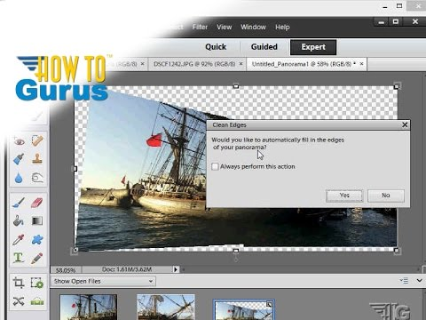 ... Panorama in Adobe Photoshop Elements 14 13 12 11 Tutorial - YouTube