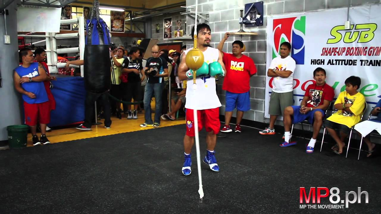 Manny Pacquiao Works His Magic On The Double End Bag You