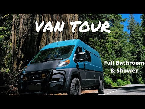 van-tour-|-fitness-couple-+-2-dogs-build-southwestern-cabin-in-lifted-promaster-|-shower-&-bathroom