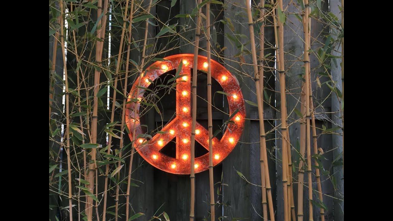 Light Up Signs Custom: Vintage Marquee Lights Signs Peace Symbol Custom