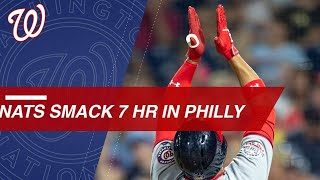 Nationals connect for seven homers, including one by Bryce Harper and two by Juan Soto