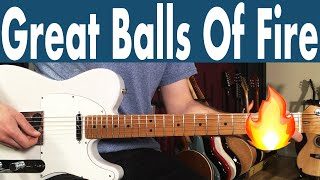 How To Play Great Balls Of Fire On Guitar | Jerry Lee Lewis Guitar Lesson + Tutorial