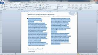 Word 2010- Apply Columns To A Portion Of A Document